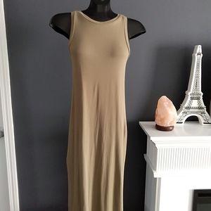 Forever 21 Lux Lined Khakhi Knit Dress